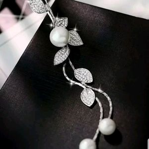 Long silver tone Faux Pearl necklace